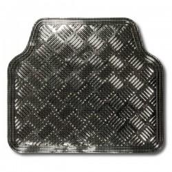 Alfombra Goma Aluminio Carbon 4 Piezas
