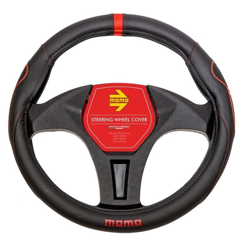 Funda de volante Momo 014 Color Negro/Rojo