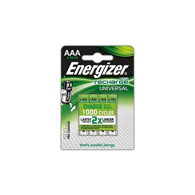 Pilas AAa Recargables Energizer 500 mAh 4 unidades