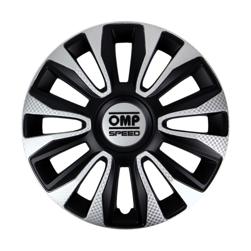 Tapacubos OMP Magnum Black Silver Carbon